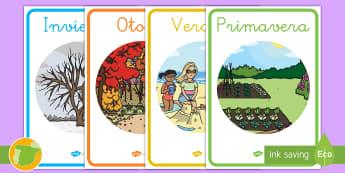 Pósters DIN A4: Las cuatro estaciones - estaciones, primavera, verano, otoño, invierno, estación, póster, DIN A4, exponer, exposición, d