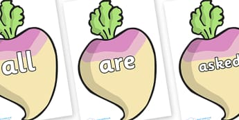 Tricky Words on Turnips - Tricky words, DfES Letters and Sounds, Letters and sounds, display, words