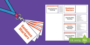 Lanyard Sized KS1 Sentence Starters Cards - KS1, year 1, year 2, reading, comprehension skills, reasoning skills, general thinking skills, maths