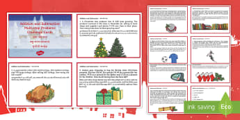 UKS2 Addition and Subtraction Multi step Word Problems Christmas Maths Challenge Cards English/Hindi - addition, total, maths, brain storming, challenge, learning, test, knowledge