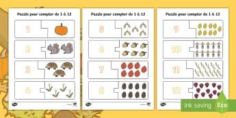 Puzzle d'automne pour compter de 1 à 12 - mathématiques, numération, nombres, cycle 1, cycle 2