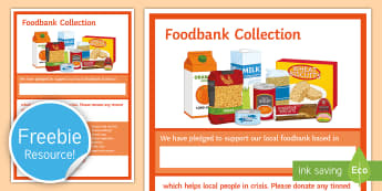 Food bank Collection A2 Display Poster  - Food Bank, foodbank, hunger, charity, volunteer, community, food parcels, crisis, food bank