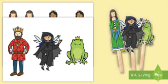 The Frog Prince Stick Puppets - Frog, princess, prince, evil fairy, story, story book, story sequencing, story resources, stick puppet, splash, kiss, story, story book, story sequencing, story resources, stick puppet, well, king, bed, sleep, golden b