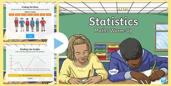 Y6 Statistics Warm-Up PowerPoint - KS2 Maths warm up powerpoints, warm up, warm-up, warmup, starter, mental starters, Y6, maths, curric