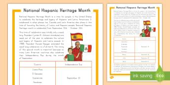 National Hispanic Heritage Month Fact File - Latino, USA, Canada, Latin America, Spanish, Great Minds, inspirational people, celebrations