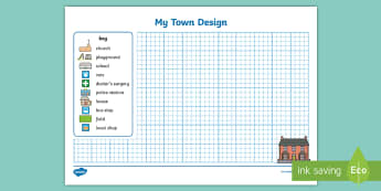 Design a Town Activity Sheet - Design a Town Activity Sheet - town, layout, design, landscaping, designing, town design, village, w
