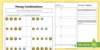 Money Combinations Differentiated Activity Sheet - greater than, smaller than, equal to, money, combinations, coins, worksheet