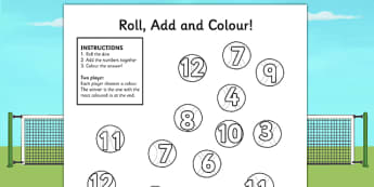 Wimbledon Tennis Ball Roll and Colour Worksheet - tennis, sports