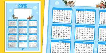 2016 Under the Sea Themed Calendar French - french, 2016, under the sea, themed, calendar