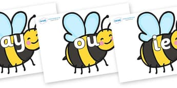Phase 5 Phonemes on Bees - Phonemes, phoneme, Phase 5, Phase five, Foundation, Literacy, Letters and Sounds, DfES, display
