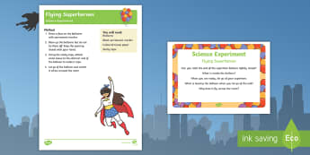 EYFS Flying Superheroes Science Experiment and Prompt Card Pack - Superheroes, superhero, balloon, air, superman