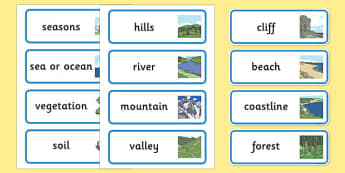 Physical Geography Word Cards - geography, word cards, cards