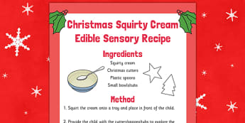 Christmas Squirty Cream Edible Sensory Recipe - christmas, squirty cream, edible, sensory, recipe