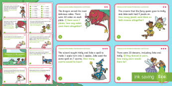 KS1 Treasures in the Garden Multiplication and Division Maths Challenge Cards - solve, problem, times, share, equally, ks1, adventure, fantasy, mermaids, pirates, maths, year 2 , y