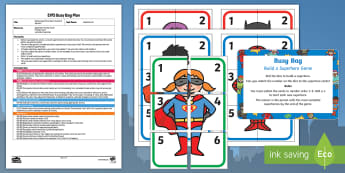 EYFS Build a Superhero Game - Numeral Version Busy Bag Plan and Resource Pack - Superheroes, superhero, dice, number, count, dice, maths, match, hero