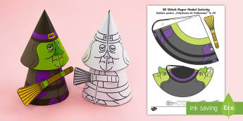 Simple Halloween 3D Witch Activity Paper Craft English/Romanian - halloween, witches, festivals, ks1 festivals, EAL