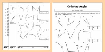 Year 4 Ordering Angles Differentiated Activity Sheets