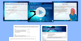 Adding, Subtracting, Multiplying and Dividing with Negative Numbers Lesson Pack - four operations, negative numbers, directed numbers