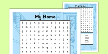 My Home Word Search French - french, home, houses and homes, house, my home, word search