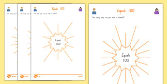 Equals 100 Mind Map Activity Sheet, worksheet