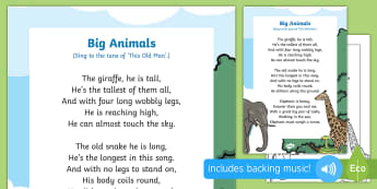 Big Animals Song - singing, song time, elephant, snake, giraffe, jungle, size, small, measurement, shape, space and mea