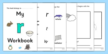 My Workbook r lowercase - workbook, r sound, lowercase, letters, alphabet, activity, handwriting, writing