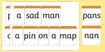 Phase 2 Caption Sentence Building Bricks - phase 2, phase two, literacy, reading
