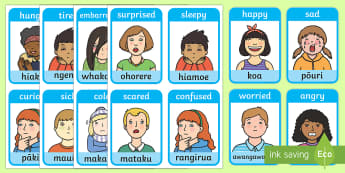 Emotions and Expressions Flashcards - Te Reo Maori, expressions, emotions, feelings, flashcards