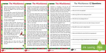 KS1 The Mischievous Elf Differentiated Reading Comprehension Activity - Christmas, elf, naughty, mischievous, elf of the shelf, Santa, Father Christmas, wrapping, elves, tr