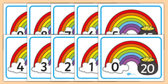 Rainbow and Pot of Gold Number Bonds to 20 Display Posters - rainbow, pot of gold, number bonds, 20, display posters