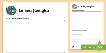 Tutto sulle mia Famiglia Esercizio - me, noi, stessi, la famiglia, esercizio,italiano