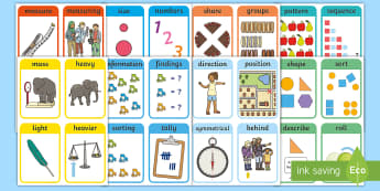 CfE Early Level Maths Vocabulary Resource Pack - flashcards, language,key vocabulary,display cards,Scottish