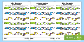Solve the Snakes Maths Activity Sheets English/German  - mahts, greater than, less than, place value, EAL, German, English-German,,German-translation