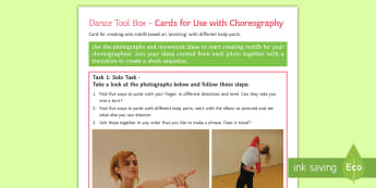 Choreographing with Gestures Activity Sheet - dance, choreography, motif, dance composition, contemporary dance, gestures, worksheet
