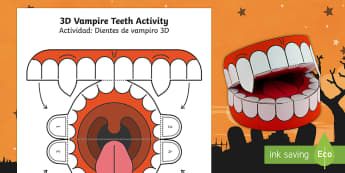 Simple 3D Halloween Vampire Teeth Paper Craft English/Spanish - EAL, halloween, teeth, vampire, vampires, crafts, arts, fun, funny, scary,Spanish-translation