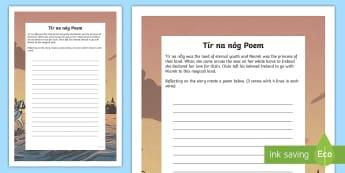 Tír na nÓg Poem Writing Template - Tír na nÓg, Poetry, Myths and Legends, History, Literacy, Na Fianna, Fionn, Oisín, Niamh, Ireland
