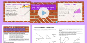 Using Trigonometry to Find Unknown Angles in Right-Angled Triangles Lesson Pack - Trigonometry, SOHCAHTOA, right-angled triangles, missing angles, sin, cos, tan, sine, cosine, tangen