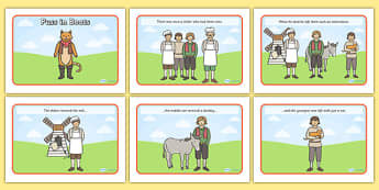 Puss in Boots Story Sequencing (A4) - Puss, cat, in boots, royal, coach, curier, miller, king, sequencing, story sequencing, story resources, A4, cards,  king's daughter, donkey, prince,Marquis of Carabas, mill, boots, inheritance, son,  story, tradi