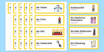 Cinderella German Translation Word Cards