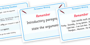 Persuasive Writing Checklist Display Posters -  persuasive writing, checklist, checking, arguments, evidence, for and against, display, banner, sign, poster, finding arguments, writing