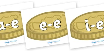Modifying E Letters on Coins - Modifying E, letters, modify, Phase 5, Phase five, alternative spellings for phonemes, DfES letters and Sounds