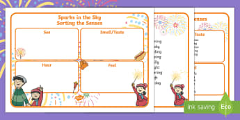 Sparks in the Sky Sorting the Senses Activity - Twinkl originals, fiction, KS1, Bonfire Night, Poetry, fireworks, guy fawkes night, five senses, see