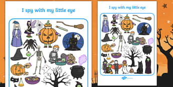 Halloween Themed I Spy With My Little Eye Activity Sheet - i spy with my little eye, i spy, activity, halloween, worksheet