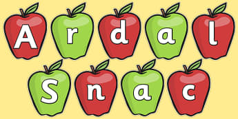 Snack Area on Apples Display Cut Outs Welsh - welsh, cymraeg, snack, snack area, cut