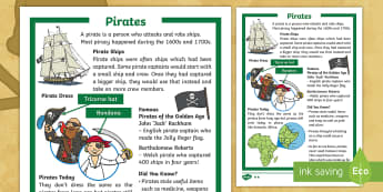 KS1 Pirates Differentiated Fact File - pirate ships, pirate dress, talk like a pirate day, international talk like a pirate day, pirate inf