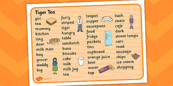The Tiger Who Came to Tea Word Mat - tiger, tea, the tiger who cam to tea, word mat, writing aid, mat, play, Judith Kerr, girl, story book