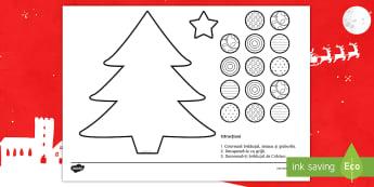 Bradul de Crăciun: Activitate de tăiere și decupare - Crăciun, activități manuale, jucării de crăciun, machete, motricitate fină, Romanian
