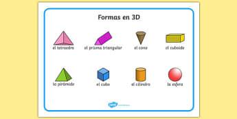 Formas en 3D 3D Shape Word Mat Spanish - spanish, Word mat, writing aid, 3D Shape names, Shape Flashcards, Shape Pictures, Shape Words, 3D flashcards
