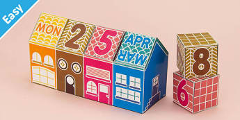 Enkl DIY Calendar Block House Printable - Enkl, arts, crafts, activity, adult, home, decor, designer, designer, decoration, interior, project, printable, cute, simple, paper, models, 3D, shape, colour, geek, clean,life,hack,organize,organizer,quick