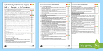 AQA Chemistry Unit 4.9 Chemistry of the Atmosphere Student Progress Sheet - Student Progress Sheets, AQA, RAG sheet, Unit 4.9 Chemistry of the Atmosphere.